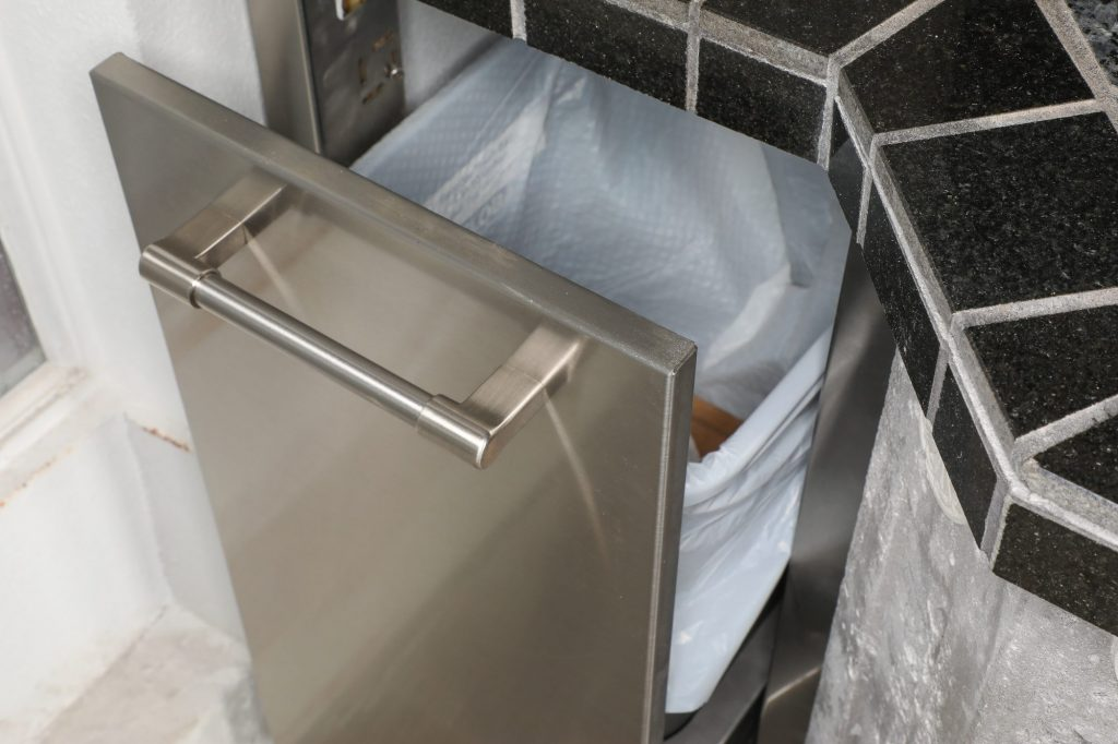 outdoor kitchen trash can