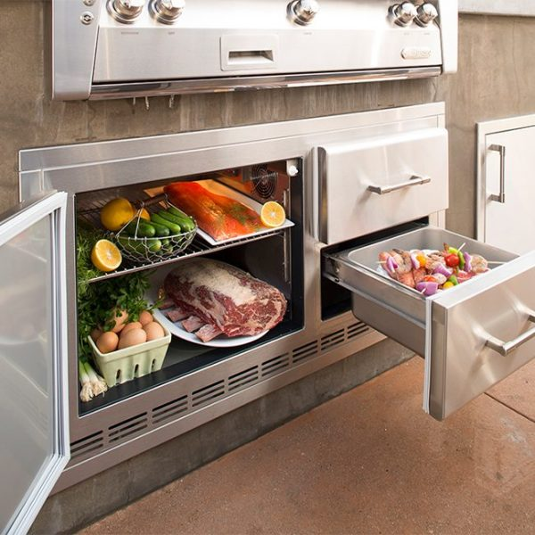 alfresco grills under grill fridge