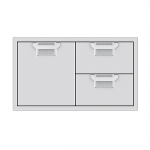 Aspire By Hestan 36-Inch Double Drawer And Door Storage Combo Stainless Steel