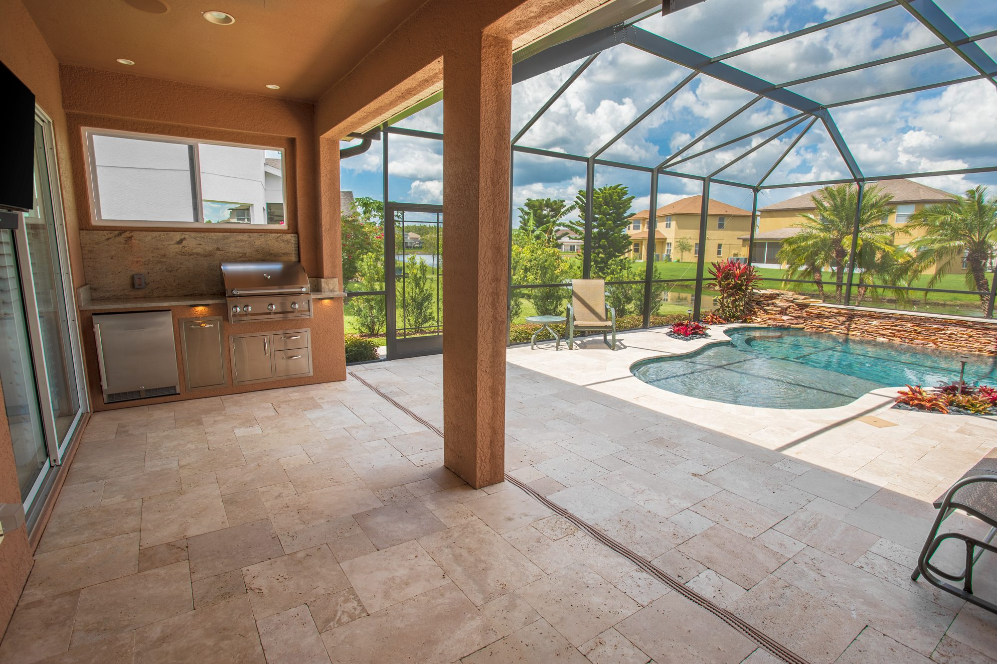 Custom Outdoor Kitchen And Privacy Wall With Window | Tampa, Florida