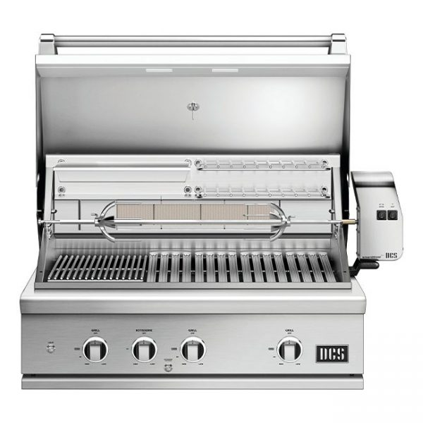 DCS Grills Series 9 36-Inch Gas Grill with Rotisserie and Charcoal Lid Open