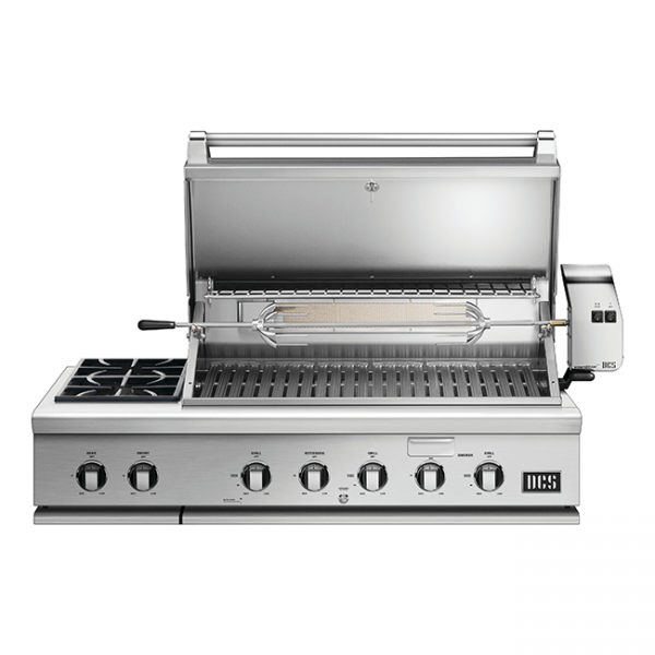 Dcs Grills Series 7 48-Inch Built In Gas Grill With Rotisserie And Double Side Burner Lid Open