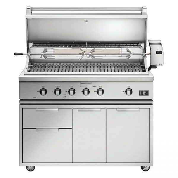 DCS Grills Series 7 48-Inch Gas Grill with Rotisserie On Cart Lid Open