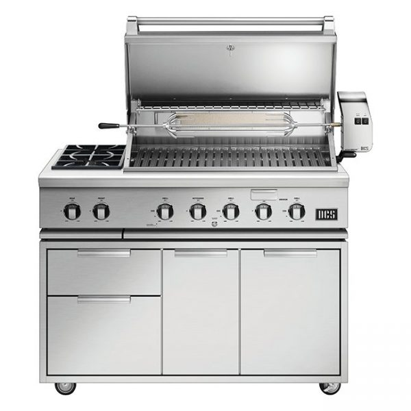 Dcs Grills Series 7 48-Inch Gas Grill Cart With Rotisserie And Double Side Burner With Lid Open