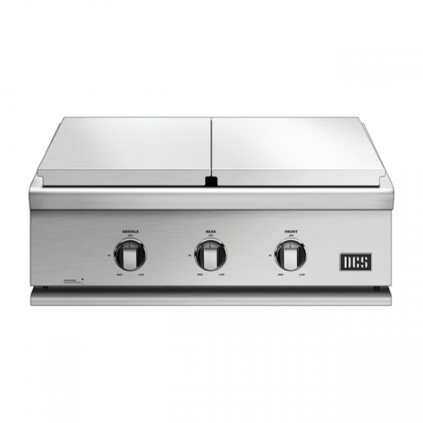 DCS Grills Series 7 30-Inch Double Side Burner & Griddle Combo Lid On