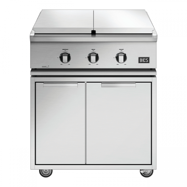 DCS Grills Series 7 30-Inch Double Side Burner & Griddle Combo On Cart Lid On
