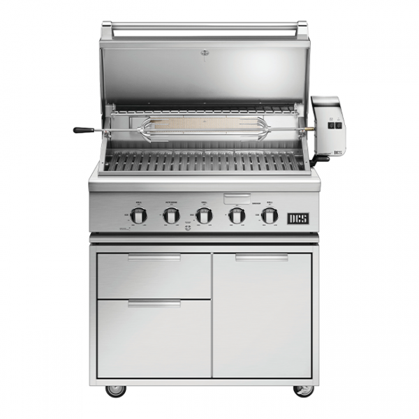 DCS Grills Series 7 36-Inch Gas Grill On Cart Lid Open