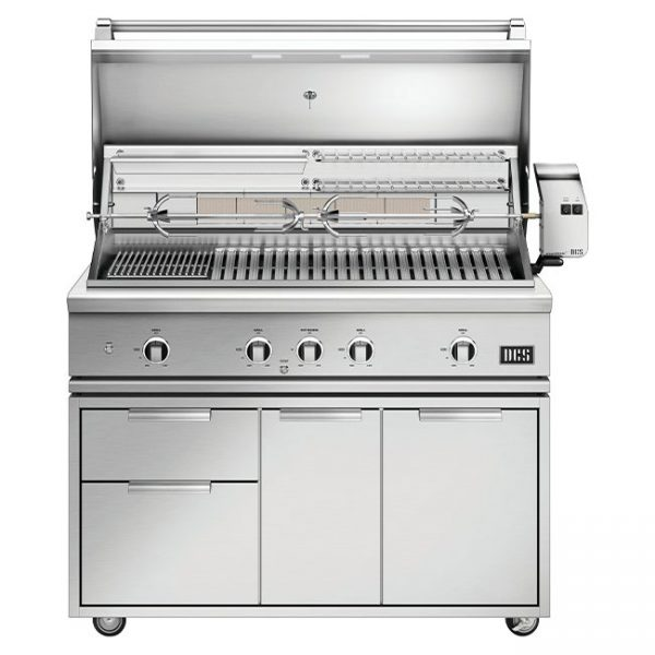 DCS Grills Series 9 48-Inch Gas Grill with Rotisserie and Charcoal On Cart Lid Open