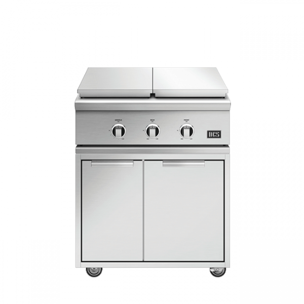 DCS Grills Series 9 Double Side Burner and Griddle Combo On Cart Lid On