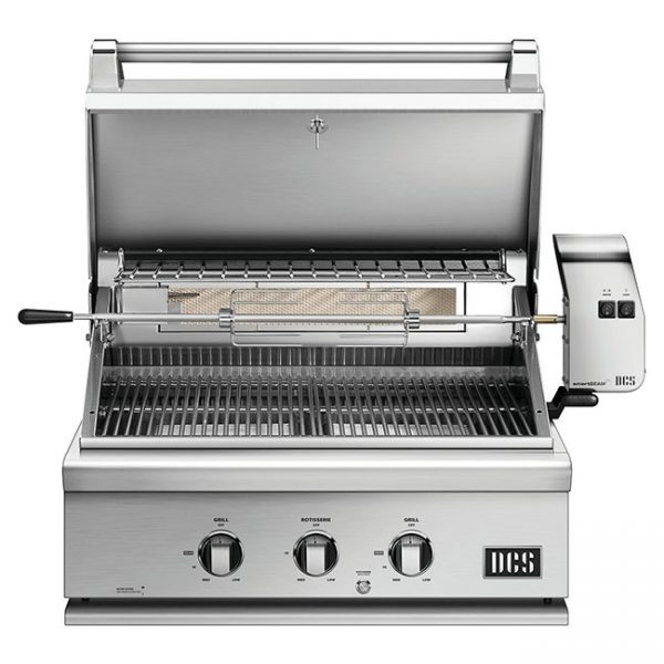 DCS Grills Series 7 30-Inch Built-In Gas Grill With Rotisserie Lid Open