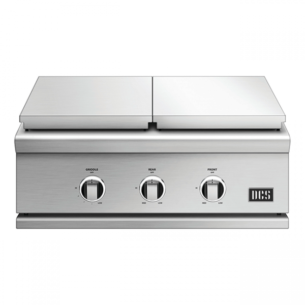 DCS Grills Series 9 30-Inch Double Side Burner & Griddle Combo Lid On