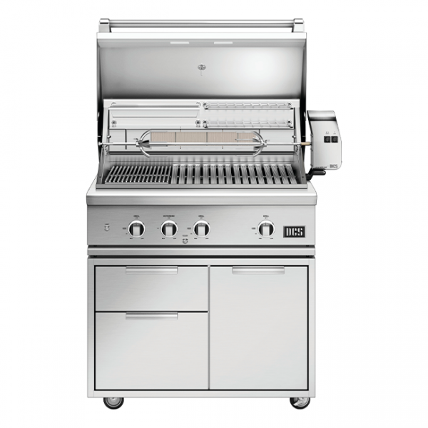 DCS Grills Series 9 36-Inch Gas Grill On Cart Lid Open
