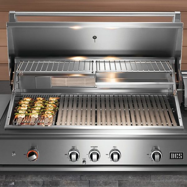 DCS Series 9 Gas Grill Kebobs Cooking Over Charcoal