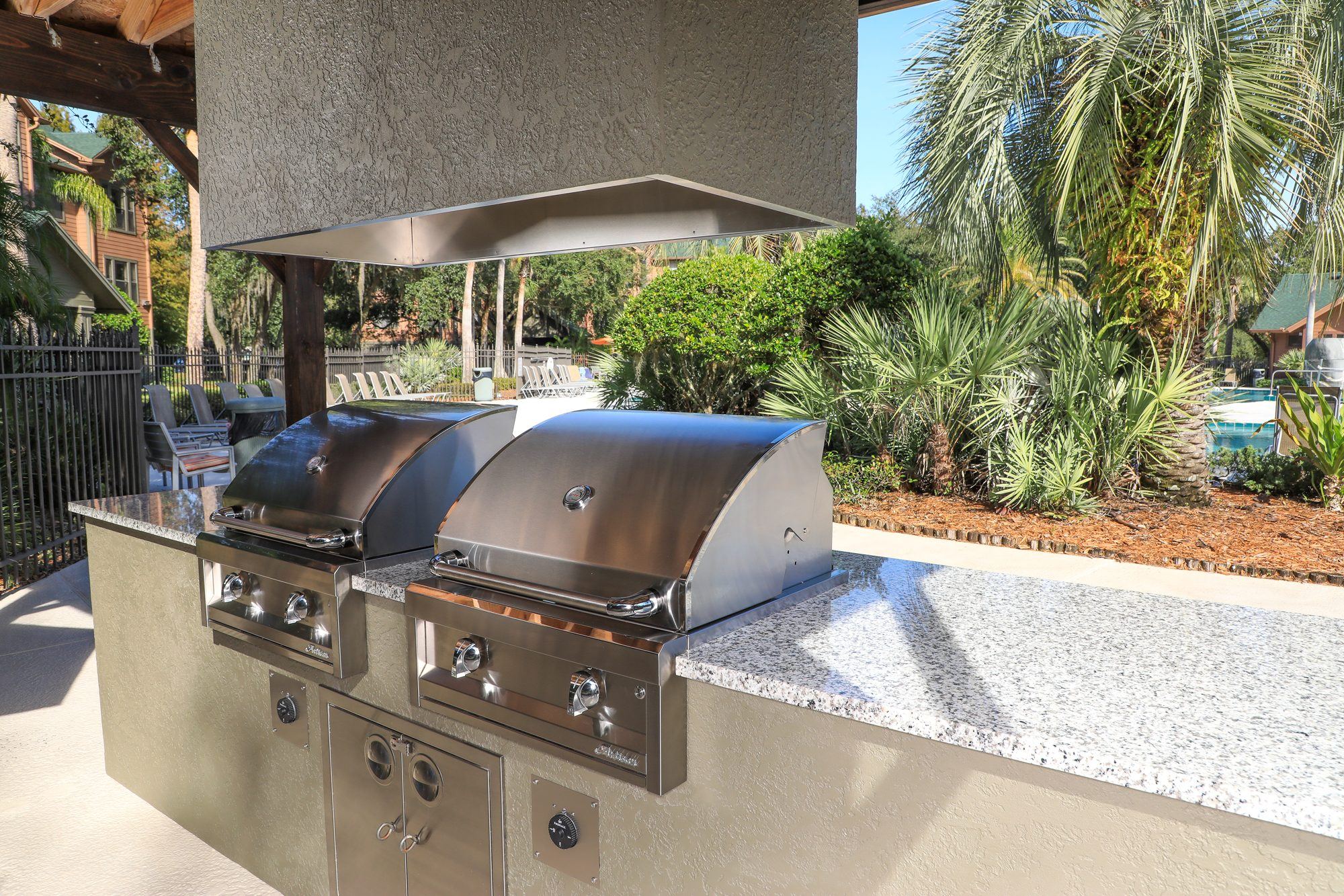 Custom Outdoor Kitchen And Vent Hood Just Grillin Outdoor Living