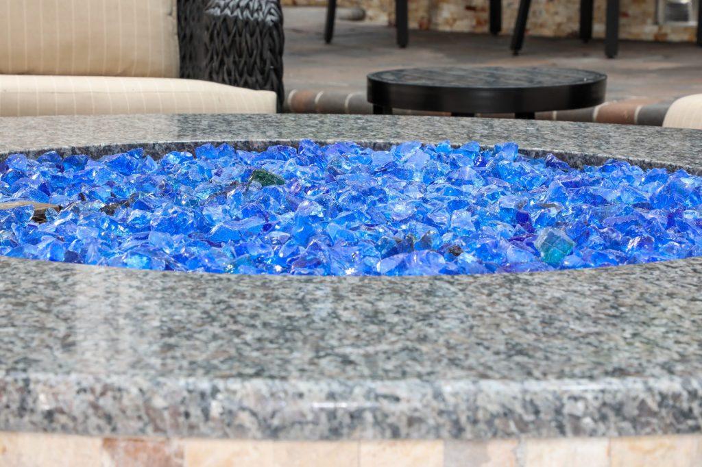 Blue Fire Pit Glass