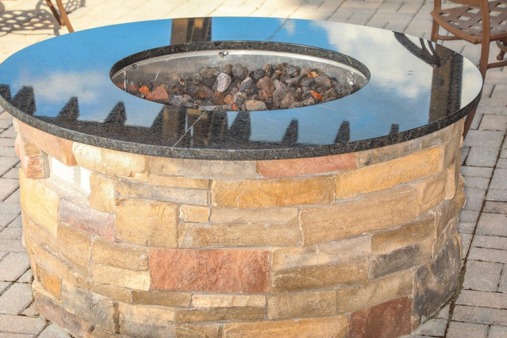 fire pit with lava rock