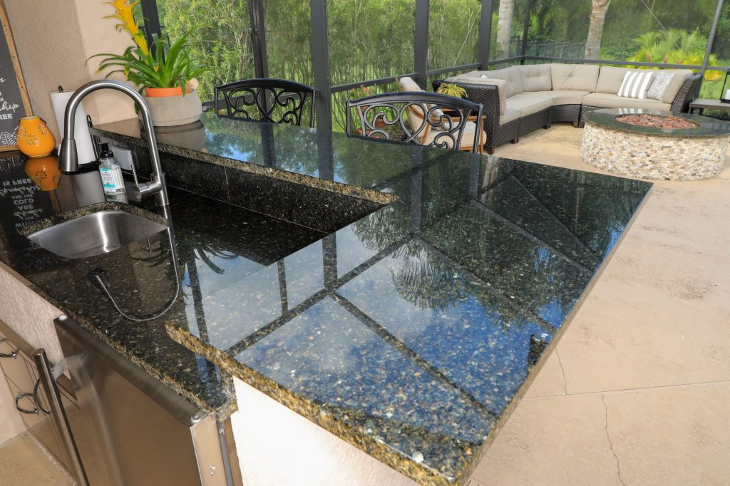 granite counter outdoor kitchen