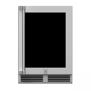 Hestan Outdoor 24-Inch Dual Zone Undercounter Refrigerator With Glass Door Right Hinge Steeleto