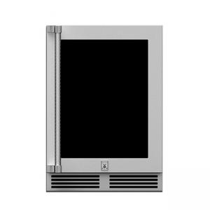 Hestan Outdoor 24-Inch Undercounter Outdoor Refrigerator with Glass Door Stainless Steel