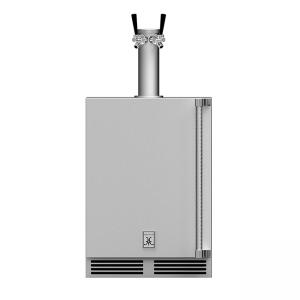 Hestan Outdoor 24-Inch Undercounter Outdoor Keg Refrigerator Left Hinge with Double Tap in Steeleto