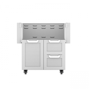 Hestan Outdoor 30-Inch Double Drawer and Door Tower Grill Cart Stainless Steel