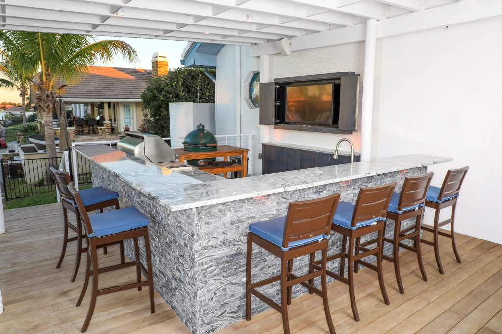 L-Shape Outdoor Kitchen Patio And Outdoor Cabinetry With Furniture