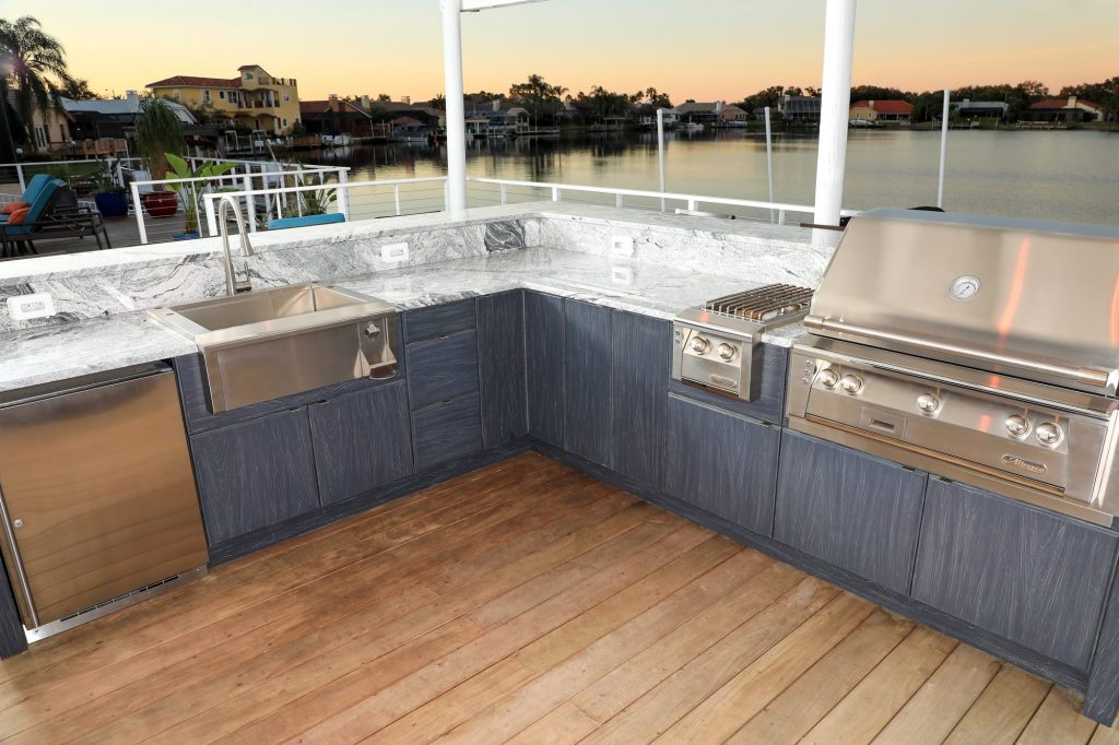 L-Shape Outdoor Kitchen Patio And Polymer Cabinet Base