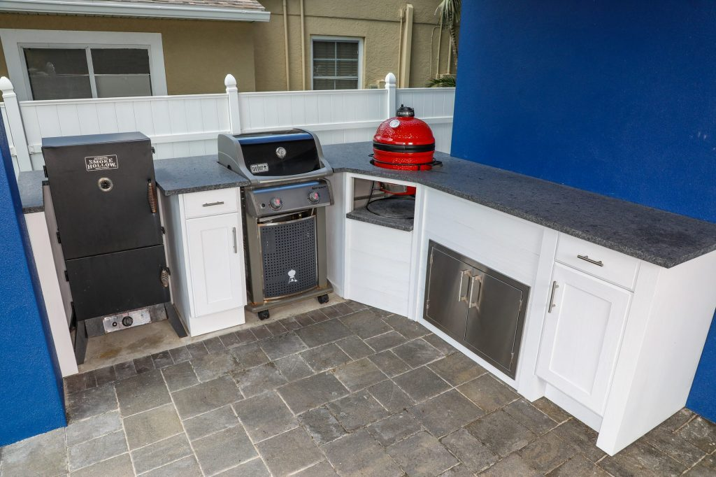 kamado joe and weber outdoor kitchen