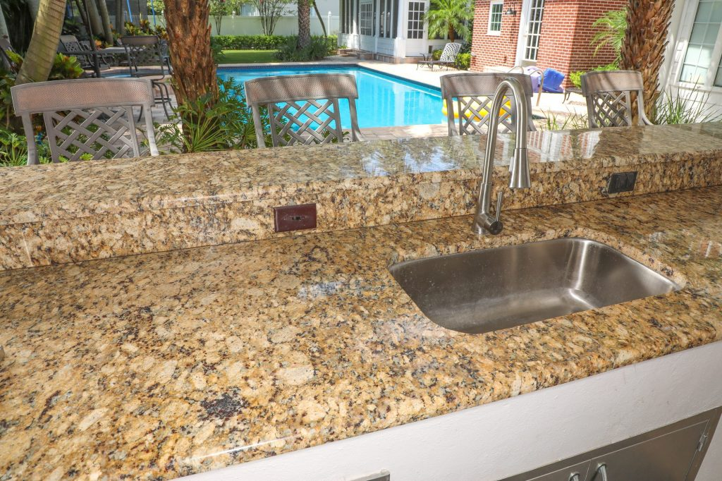 outdoor kitchen sink installed
