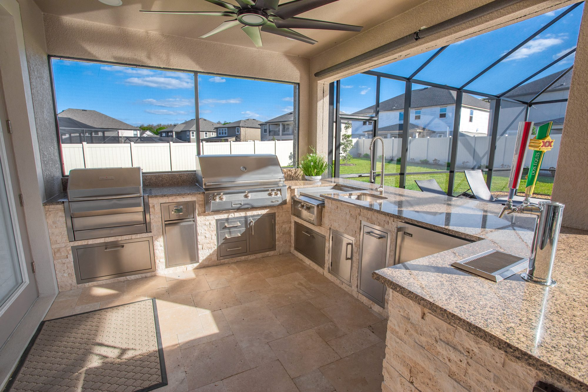 Custom Outdoor Kitchen With Gas And Pellet Grill In Tampa