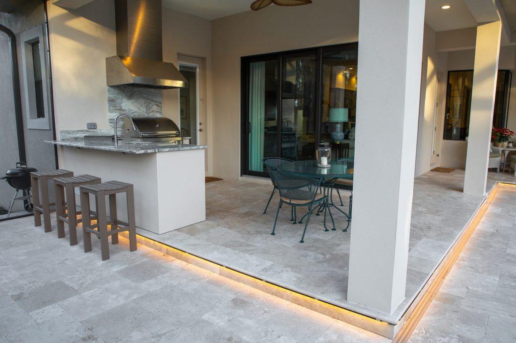 Custom Outdoor Kitchen With Patio Lighting In Lutz