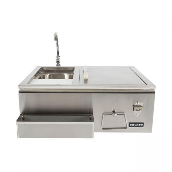 Coyote Outdoor Living Refreshment Center with Sink, Faucet & Cooler