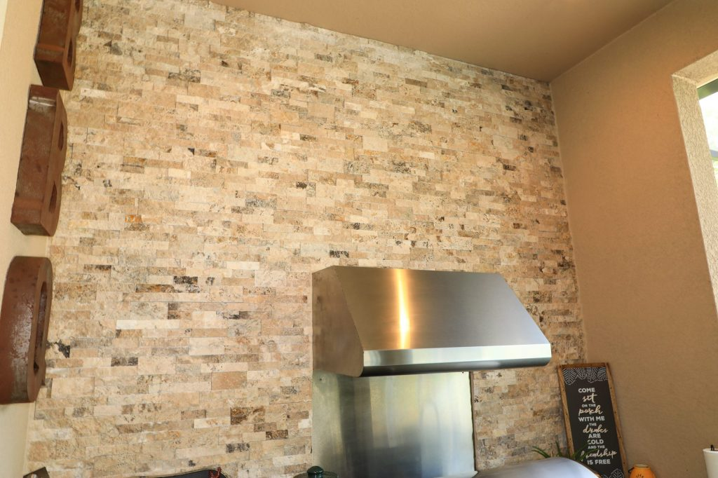 stone accent wall patio