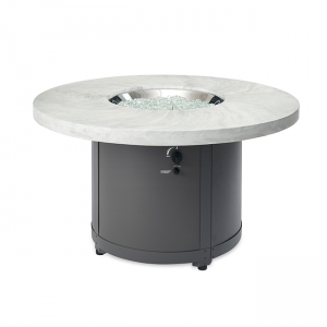 The Outdoor Greatroom Company White Onyx Beacon Chat Height Gas Fire Pit Table