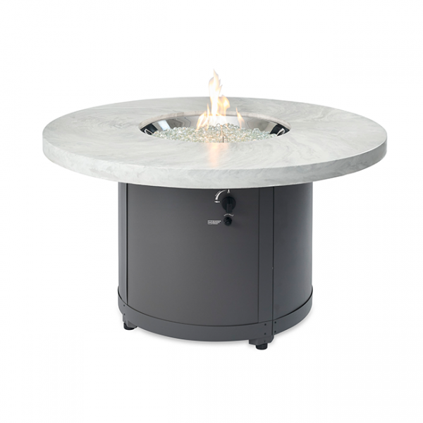 The Outdoor Greatroom Company White Onyx Beacon Dining Height Gas Fire Pit Table