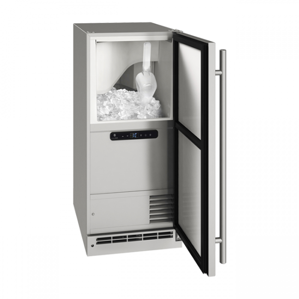 U-Line 15 Inch Stainless Outdoor Clear Ice Machine with Reversible Door Hinge