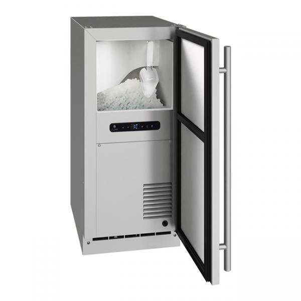 U-Line 15 Inch Stainless Outdoor Nugget Ice Machine with Reversible Door Hinge