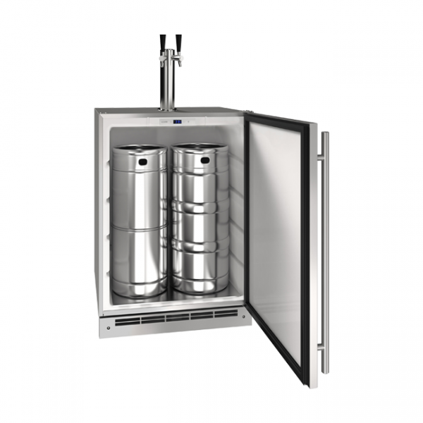 U-Line 24 Inch Stainless Keg Refrigerator with Reversible Hinge
