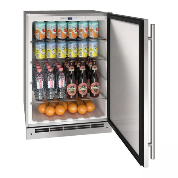 U-Line 24 Inch Stainless Outdoor Refrigerator with Reversible Door Hinge