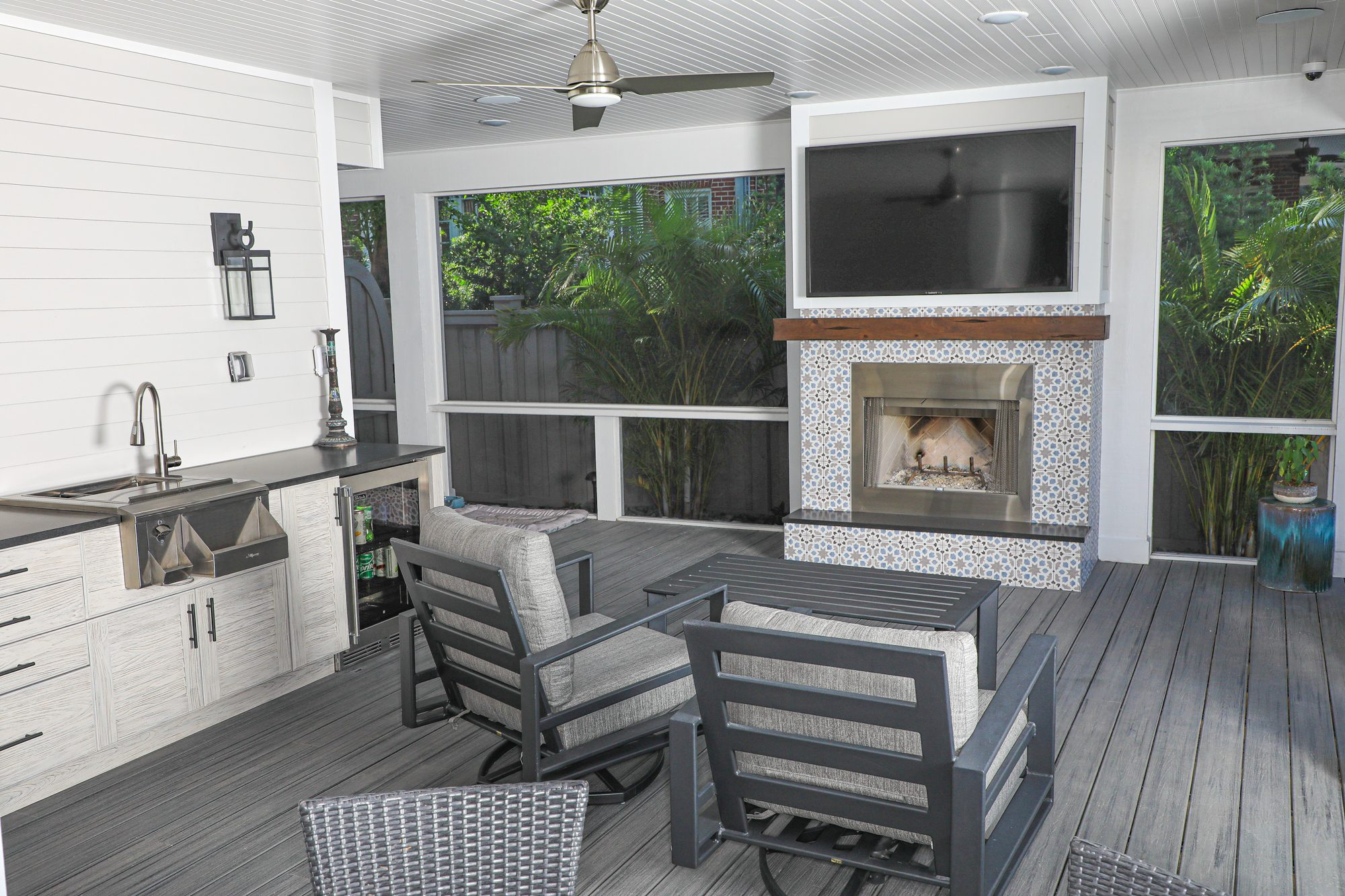 Wood Burning Outdoor Fireplace And Wet Bar